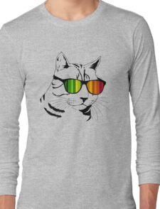 Cool Cat Mirror Rainbow Shades.  Long Sleeve T-Shirt