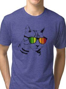 Cool Cat Mirror Rainbow Shades.  Tri-blend T-Shirt