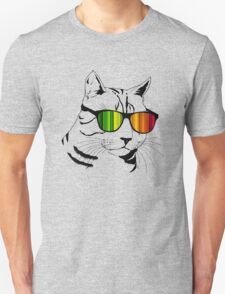 Cool Cat Mirror Rainbow Shades.  Unisex T-Shirt