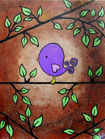 Purple Birdy by Amy-lee Foley