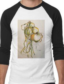 Drying onions Tuscany p&w 2010.  Men's Baseball ¾ T-Shirt