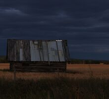 The Shack In The Field At Sundown by Sandra Foster