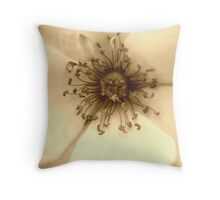 Heart of the White Rose in Sepia Throw Pillow