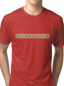 Wood Scrabble Thursday! Tri-blend T-Shirt