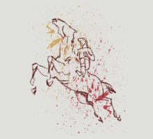 Horse and Rider Outline with Spatters by EdgyHorseGifts