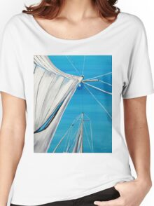Sailboat sail Amel 1 Oil on Canvas Painting Women's Relaxed Fit T-Shirt