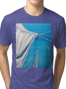 Sailboat sail Amel 1 Oil on Canvas Painting Tri-blend T-Shirt