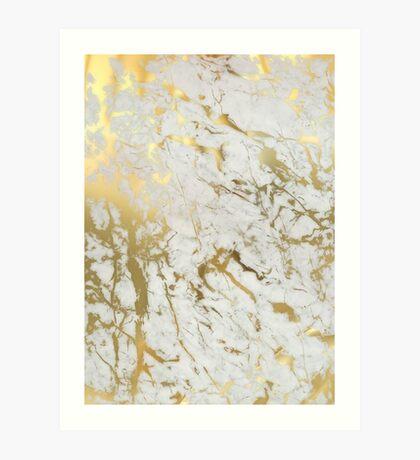 Gold marble on white (original height quality print) Art Print