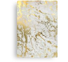 Gold marble on white (original height quality print) Canvas Print