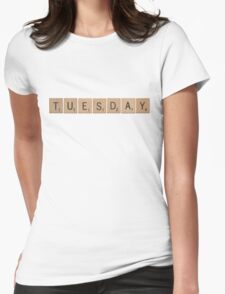 Wood Scrabble Tuesday! Womens Fitted T-Shirt