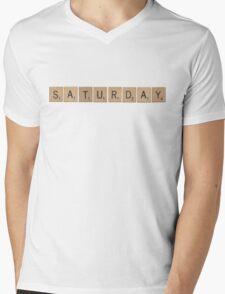 Wood Scrabble Saturday! Mens V-Neck T-Shirt