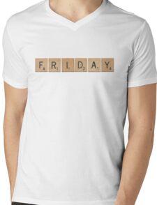 Wood Scrabble Friday! Mens V-Neck T-Shirt
