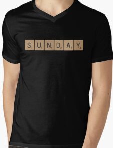 Wood Scrabble Sunday! Mens V-Neck T-Shirt