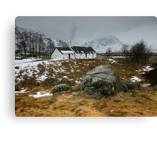 Scotland : Blackrock Cottage in winter Canvas Print