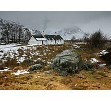 Scotland : Blackrock Cottage in winter Photographic Print