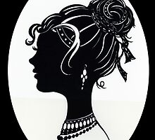 Vintage Fashion Silhouette, Old Fashioned Vanity , Beauty black white by IrenesGoodies
