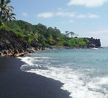Wainapanapa Black Sand Beach by HawthroneArt