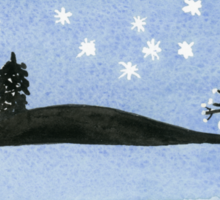 Starry night with the moon black trees and mountains. Watercolor Sticker