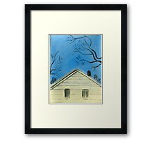 Yellow house - Pastel Painting  Framed Print