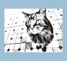 Harlequin Cat with Diamonds Black White Pop Art Kids Tee