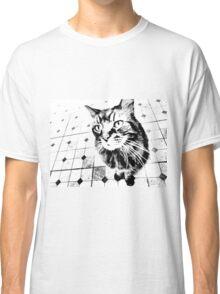 Harlequin Cat with Diamonds Black White Pop Art Classic T-Shirt