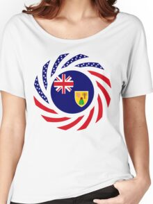 Turks & Caicos American Multinational Patriot Flag Series Women's Relaxed Fit T-Shirt