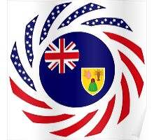 Turks & Caicos American Multinational Patriot Flag Series Poster