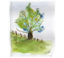 Tree in a green field with blue flowers - watercolor painting la Poster