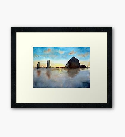 Cannon Beach Oregon Haystack Rock Sunset Watercolor Framed Print