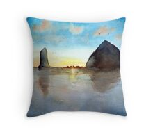 Cannon Beach Oregon Haystack Rock Sunset Watercolor Throw Pillow