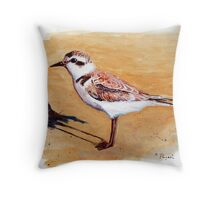 Snowy Plover Oregon Shorebird Acrylic Painting Throw Pillow