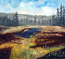 Oregon Santiam Pass Summit Watercolor Painting by Pagani