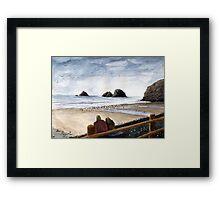 Oceanside Oregon Beach Watercolor Framed Print