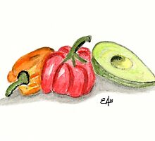 Red and orange peppers with an Avocado in the kitchen - watercol by Eugenia Alvarez