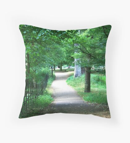 A Path Through The Green Throw Pillow