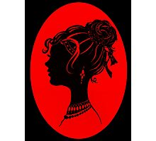 Red Vanity , Fashion Goth Silhouette Beauty Paper Cutout Fashion illustration Lady Photographic Print