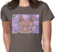 Flower Cat Tee Womens Fitted T-Shirt