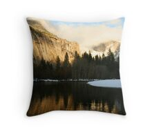 Half Dome in the Mist Sunset  Throw Pillow