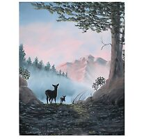 Deer In The Mist by Newhouser