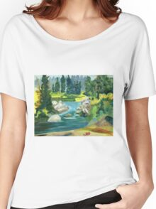 Green River -  Oil On Canvas Painting Women's Relaxed Fit T-Shirt