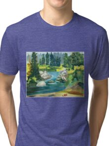 Green River -  Oil On Canvas Painting Tri-blend T-Shirt