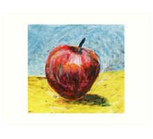 Red apple. Oil pastel painting Art Print