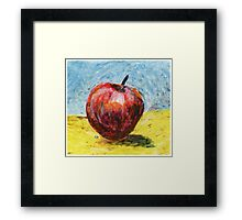 Red apple - Oil pastel painting Framed Print