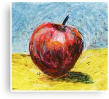 Red apple. Oil pastel painting Canvas Print
