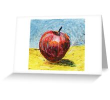 Red apple - Oil pastel painting Greeting Card