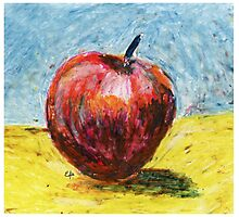 Red apple. Oil pastel painting Photographic Print