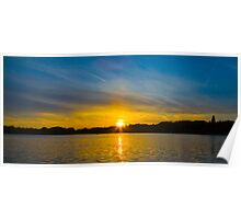 Sunset Over the Water Poster