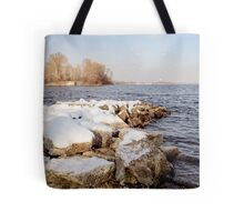 Snow Over the River Tote Bag