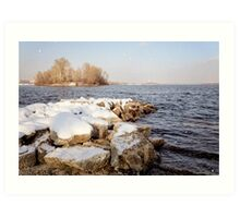 Snow Over the River Art Print