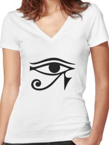 EYE of Horus / Ra - ancient Egyptian symbol of protection Women's Fitted V-Neck T-Shirt